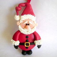 Christmas Santa Ornament. XMas Decoration Ornament. Handmade Santa Claus Ornament. Holidays Gift Ideas