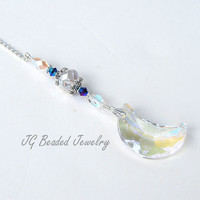 Moon and Crystal Rearview Mirror Car Charm