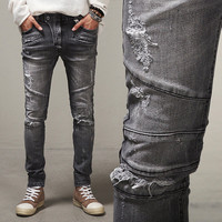 Slim Winter Ripped Holes Strong Character Jeans [10368009603]