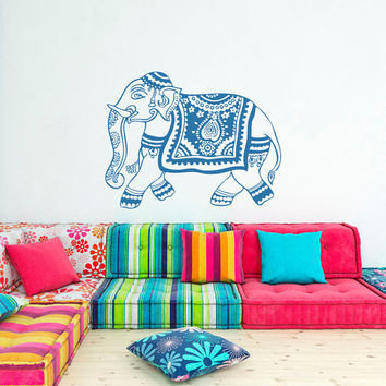 Indian Elephant Wall Decal Stickers- Yoga Wall Decal Indie Wall Art Bedroom Dorm Nursery Boho Bedding Home Decor Interior Design C103