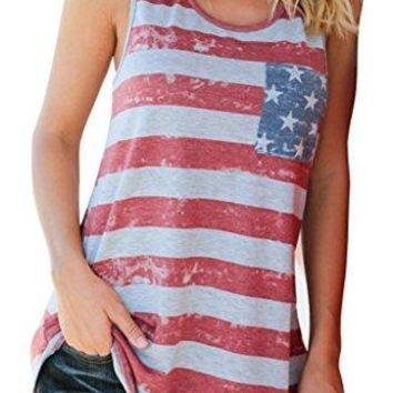 WorkTd Womens Casual USA American Flag Tops 4th of July Shirt