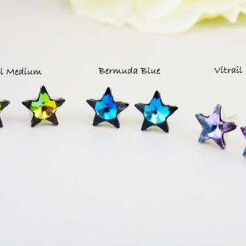 Swarovski Crystal Earrings - Star Earrings - Crystal Swarovski Star stud Earrings - Hypoallergenic Post Earrings - Choose your color