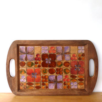 Vintage Vera Neumann Mosaic Flower Serving Tray 1960s Ceramic Tiles Wood Tray Mod Flowers Serving Tray