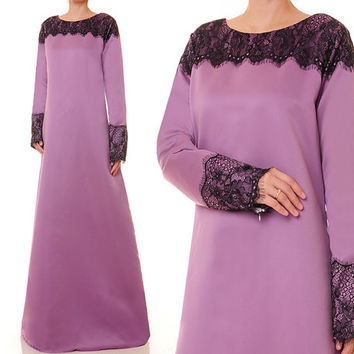 Dusty Purple Abaya, Bridal Satin Evening Gown, Alternative Wedding Gown, Party Abaya, Long Sleeve Maxi Dress - Plus Size XL/1X (2058)