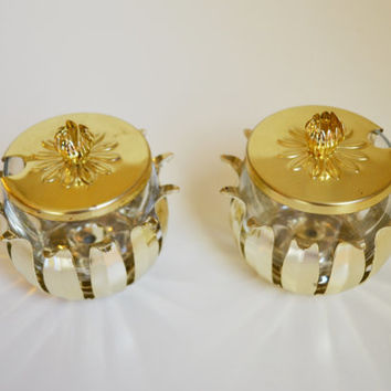 Vintage Brass Jam Jelly Serving Jars Mid Century Modern Jam Jelly Jars Eames Era