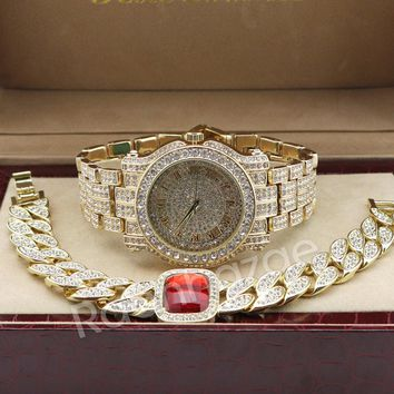 Hip Hop 14K Gold Simulated Diamond Watch Ruby Cuban Chain Bling Bracelet Set F47