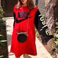 """""""Nike"""" Women Loose Personality Fashion Letter Multicolor Stitching Lace Long Sleeve Dress"""
