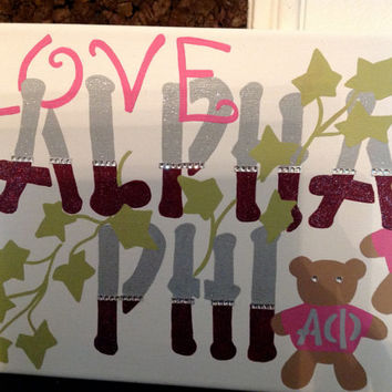 Alpha Phi Greek Sorority Canvas hand-painted sign, wall hanging, letters