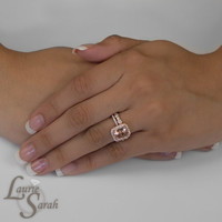 Morganite and Rose Gold Engagement Ring and Wedding Set with Bezel Set Diamond Eternity Wedding Band - LS3353