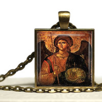 St Michael Pendant  Greek Orthodox Icon Archangel Pendant Necklace Handmade