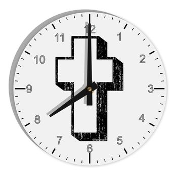 """Simple Cross Design Black Distressed 8"""" Round Wall Clock with Numbers by TooLoud"""
