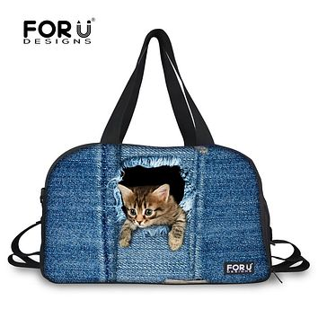 FORUDESIGNS Women Luggage Travel Bag Cute Cat Dog Print Female Duffle Bag Canvas Large Capacity Luxury Travel Duffel Tote Bags