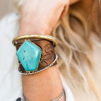 Turquoise Statement Leather Cuff Bracelet