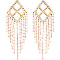 23K Yellow Gold Jadau Pink Tourmaline Beads Earrings by Madhuri Parson - Moda Operandi