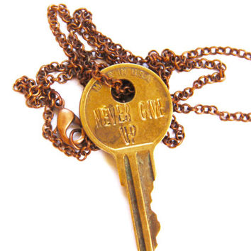 NEVER GIVE UP Declaration Key Necklace