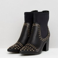 Boohoo Stud Detail Heeled Ankle Boot at asos.com