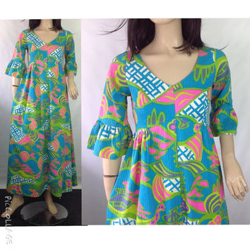 KAHALA Maxi Dress Vintage Hawaiian Dress 70s Hippie Maxi Vtg Mod Dress Vintage Luau Dress Tiki Dress Bold Color Dress Tag 12  possible S M