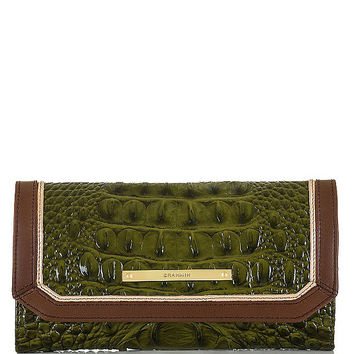 Brahmin Chive Tri Texture Collection Croco-Embossed Soft Checkbook Wallet | Dillards