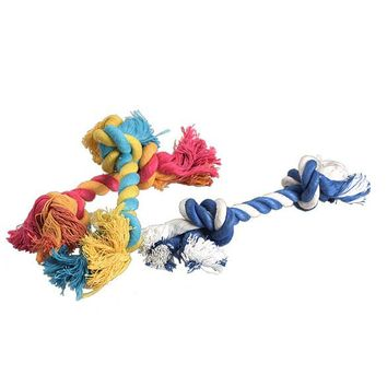 1 pcs Random Color Pets dogs pet supplies Pet Dog Puppy Cotton Chew Knot Toy Durable Braided Bone Rope 15CM Funny Tool