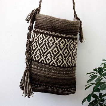 Handmade brown handbag, unique handwoven wool crossbody bag, boho chic purse, shoulder bag with nice brown pattern