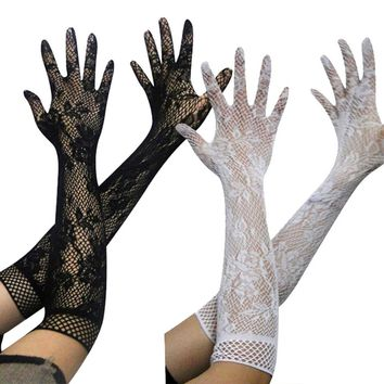 New Women Sexy Transparent Lace Elastic Gloves Satin Bow Trendy Stretch Opear Bride Elbow Length Fishnet Long-Sleeve Gloves