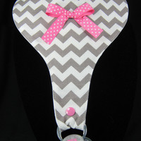 Grey and White Chevron Pacifier Bib - Chevron Paci Bib for Baby Girl with Organic Cotton Fleece