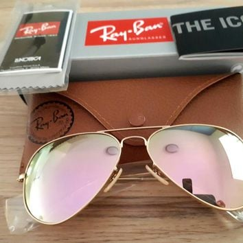 NEW GENUINE 80% Off Ray Ban Aviator Gold Frame Pink Mirror Lens Sunglasses
