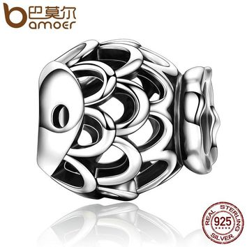 Genuine 100% 925 Sterling Silver Ocean Kid Openwork Fish Shape Beads fit Charm Bracelets for Women Jewelry Gift SCC196