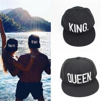 2017 KING QUEEN Embroidery Snapback Hat Baseball Caps Casquette Hats Fitted Casual Gorras Hats For Men Women Couple Gifts