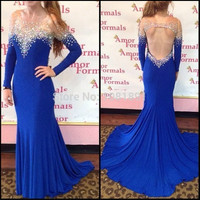 Long Sleeve Backless Beading Prom Dresses