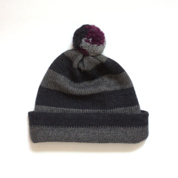 Women's cashmere beanie / Men's knit hat / Stripe pom pom hat / Cuffed hat / Fitted hat / Skull cap / Cashmere merino