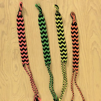 Neon Colors Chevron Wish on a Wrist (Set of 4)