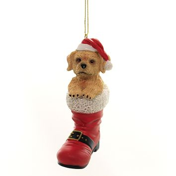 Holiday Ornaments DOG IN SANTA BOOT Polyresin Labradoodle D3696 H