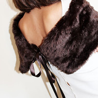 Dark Brown Faux Fur Shrug, Faux Fur Shawl, Polyester faux fur, Women Accessories, wedding, party Shoulder Wrap,  Christmas gift Women