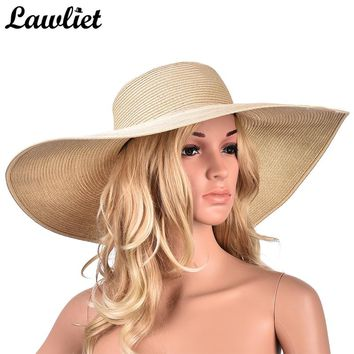 Large Brim Sun Hat 7.1'' Summer Paper Straw Hats for Women Ladies UV Protect Floppy Beach Hats Kentucky Derby Party Drress Hats