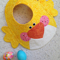 Handcrafted Quilted Chick Bib