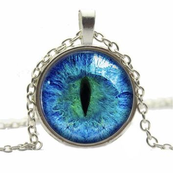 New Retro 6 Colors Dragon Cat Eye Glass necklace Plated Circular Pendant Necklace For Woman Gift Charm Jewelry bijoux femme