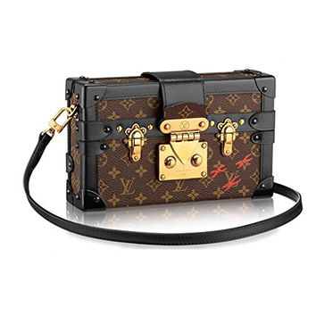 Louis Vuitton Monogram Canvas Petite Malle Leather Strap Handbag Article: M40273 Made in France