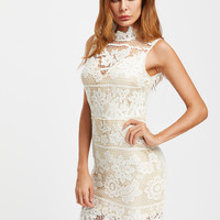 White Lace Overlay High Neck Zip Back Dress