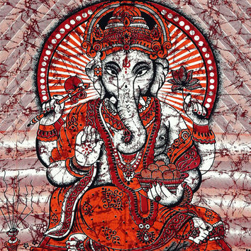 Indian Ganesha Tapestry Lord Ganesh Batik Tapestries God Ganesha Wall hanging Hippie Throw Twin Bedspread Hippy Bedsheet Curtain Cover Decor