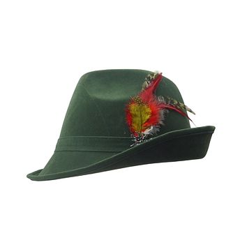 """German Hunter"" Green Hat Fedora With Edelweiss & Feather"