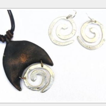 Spiral Pewter Necklace and Earrings Set