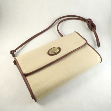Small Canvas Purse, Vintage Envelope Clutch, Designer Etienne Aigner Womens Wallet Purse