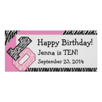 10th Birthday Zebra with Pink Custom Name V06 Posters
