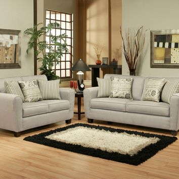 2 pc Genvivie collection beige colored fabric upholstered sofa and love seat set with rounded square arms