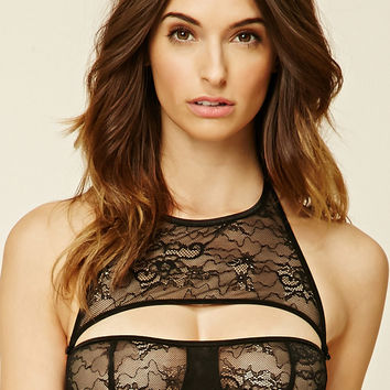 Buttoned Lace Bralette