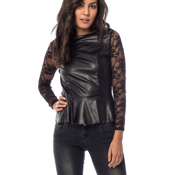 Black Leather Long Sleeve Lace Peplum Top