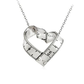 Personality Heart-shaped Ruler Pendant Necklace Love Measuring Rule Exploring mystery Jewelry Teacher Family Friend Gift