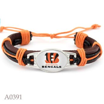 10 PCS Cincinnati Bengals Football Team Real Leather Bracelet Adjustable Mens  Real Leather Bracelet For Men and Women 10 PCS