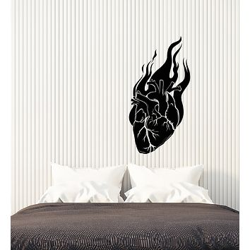 Vinyl Wall Decal Heart on Fire Gothic Style Romance Love Valentine's Day Stickers (4304ig)